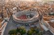 Leinwandbild Motiv Aerial drone shot view of sunrise on ancient roman amphitheatre Verona Arena (Arena di Verona) in Verona, Italy