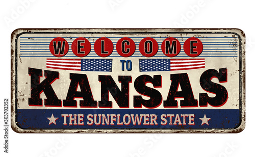 Kansas vintage rusty metal sign Canvas Print