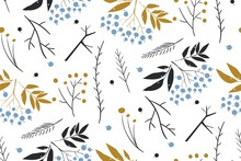Hand Drawn Floral Winter Seamless Pattern With Christmas Tree Branches And Berries. Christmas Background. New Year 2020.