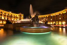 Night View Of Naiads Fountain In Republic Square.