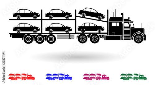 Detailed multi color car transporting truck illustration