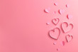 canvas print picture - Composition for Valentine's Day February 14th. Delicate pink background and pink hearts cut out of paper. Greeting card. Flat lay, top view, copy space.