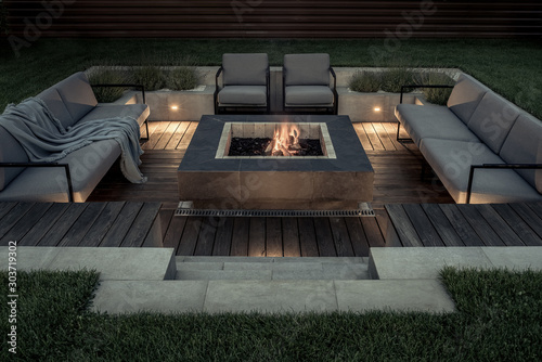 Obraz na plátně Outdoor zone for relax with burning fire pit