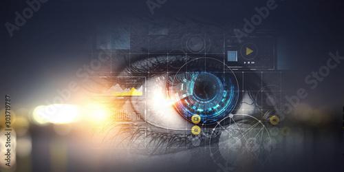 Autocollant pour porte Iris Person identification and scanning . Mixed media