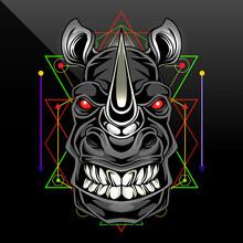 Rhino Head Mascot Logo Design