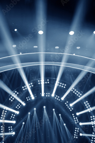 Stage lighting effect in the dark, close-up pictures - 303723731