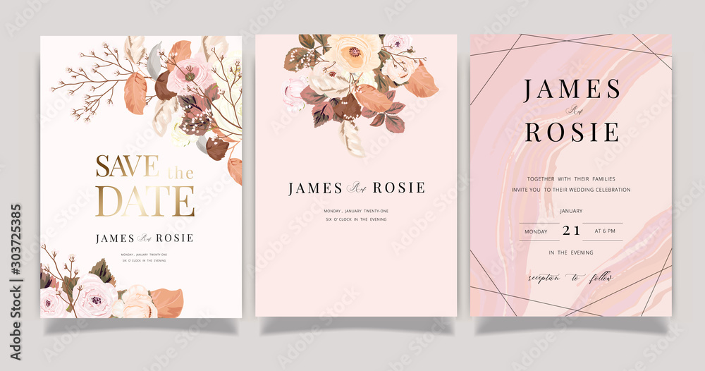 Fototapeta Autumn and winter Flower Wedding Invitation set, floral invite thank you, rsvp modern card Design in pink brown  floral with leaf greenery  branches decorative Vector elegant rustic template