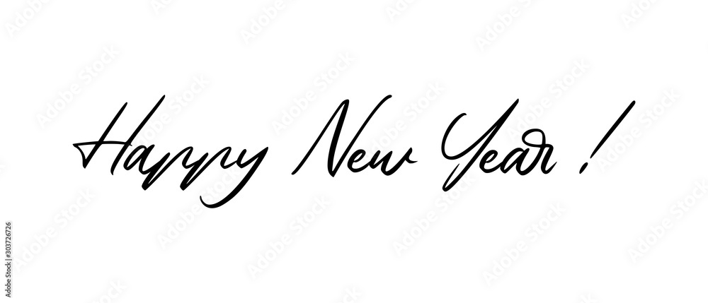 Fototapeta Happy new year calligraphic text for greeting card. Vector holiday design.
