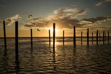 Kitesufers At Sunset, Los Lances Beach, Tarifa, Cadiz, Andalusia, Spain