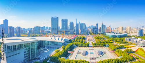Aerial scenery at Century Square in Shanghai, China Wallpaper Mural