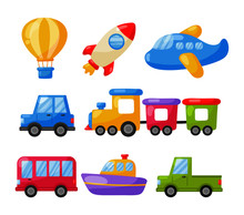 Cartoon Transport Toys Icon Set. Cars, Boat, Helicopter, Rocket, Balloon And Plane Isolated On White Background. Illustration Vector.
