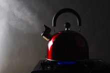 Kettle With Boiling Steam On A...