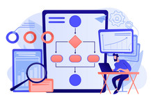 Analyst Working At Laptop With Automation Process. Business Process Automation, Business Process Workflow, Automated Business System Concept. Pink Coral Blue Vector Isolated Illustration