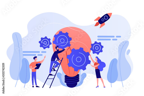 Tiny business people generating ideas and holding gears at big light bulb. Idea management, alternative thinking, best solution choice concept. Pink coral blue vector isolated illustration