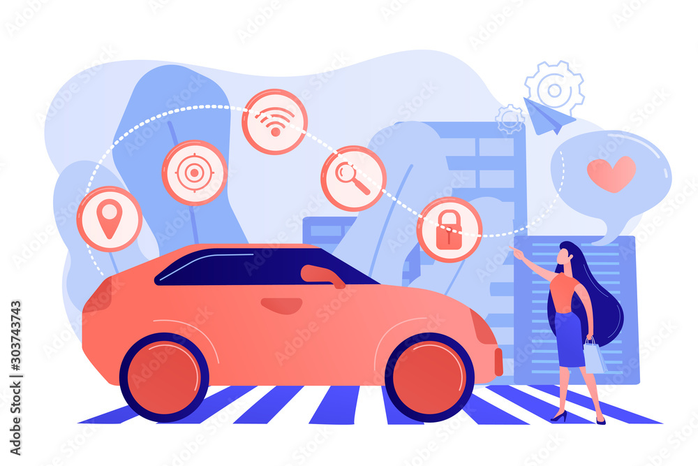 Fototapety, obrazy: Businesswoman with heart likes using autonomos car with technology icons. Autonomous car, self-driving car, driverless robotic vehicle concept. Pinkish coral bluevector isolated illustration