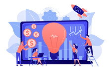 Capital Fund Financing Small Firm With High Growth Potential. Venture Capital, Venture Investment, Venture Financing, Business Angel Concept. Pinkish Coral Bluevector Isolated Illustration