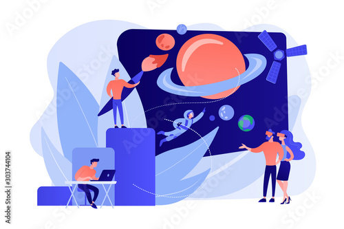 Obraz VR space exploration, virtual reality cosmos travel. Virtual world development, simulated environment experiences, virtual worlds design concept. Pinkish coral bluevector isolated illustration - fototapety do salonu