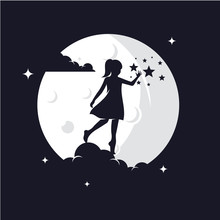 Reaching Stars With Moon Background Logo Design Template