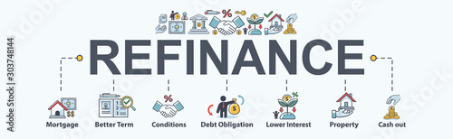 Photo Refinance banner web icon for financial and home loan, mortgage, better term, debt obligation, property, lower interest and cash out