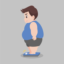 Big Fat Man Standing On Electronic Scales For Weight Body Weight Healthcare Concept Cartoon Healthy Character Flat Vector Design.