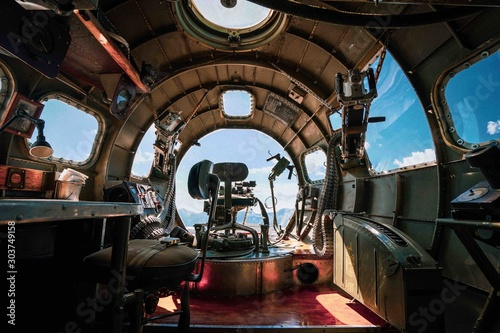 Tableau sur Toile Interior of a B-17 bomber plane from WWII in an airbase