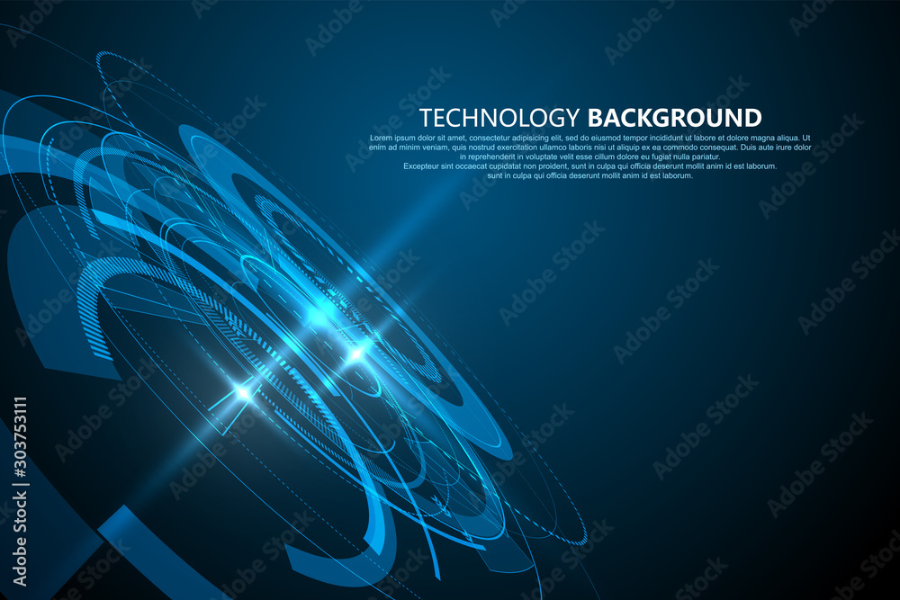 Fototapeta Three-dimensional interface technology, Technology sense vector background.