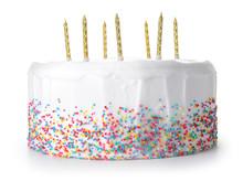 Tasty Birthday Cake On White Background