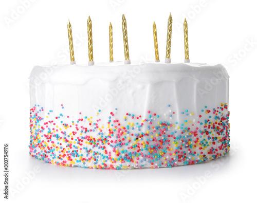Valokuvatapetti Tasty Birthday cake on white background