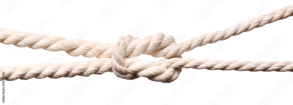 Fototapeta Ropes with knot on white background