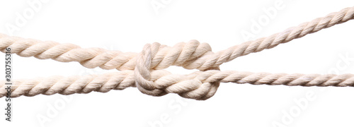 Fotografie, Obraz Ropes with knot on white background