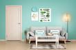 Leinwandbild Motiv Interior of modern living room with turquoise elements