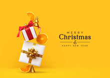Merry Christmas And Happy New Year. Background With Realistic Festive Gifts Box, Orange Slices Conical Metal Christmas Trees. Xmas Present. Abstract Balanced Composition Design Concept