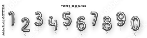 Fotografiet Silver Number Balloons 0 to 9