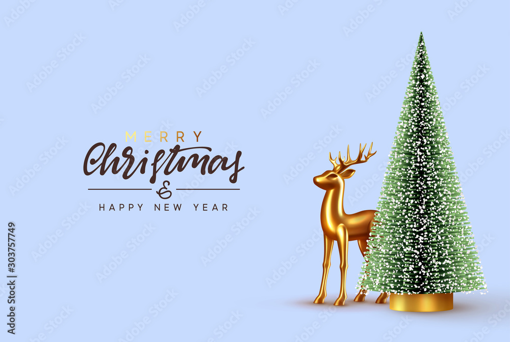 Fototapeta Christmas lush tree with realistic metallic gold-colored deer. Holiday Xmas background. Festive with decorative objects, pine and spruce tree, gold glass reindeer. vector illustration