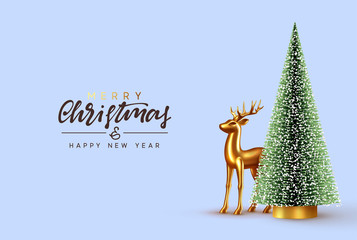 Christmas lush tree with realistic metallic gold-colored deer. Holiday Xmas background. Festive with decorative objects, pine and spruce tree, gold glass reindeer. vector illustration