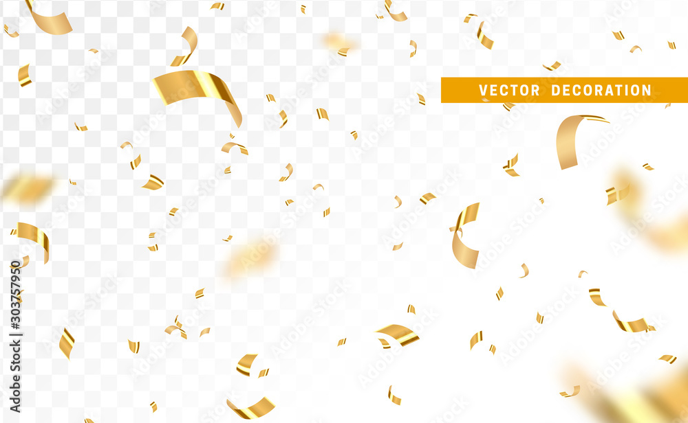 Fototapeta Falling shiny golden confetti isolated on transparent background. Bright festive tinsel of gold color. - obraz na płótnie