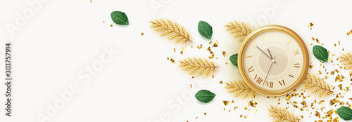 Fotobehang Vrouw gezicht Background vintage yellow watch, old clock face, decorative golden pine and fir branches, falling glitter gold confetti. Horizontal banner, poster, greeting cards, headers for website.
