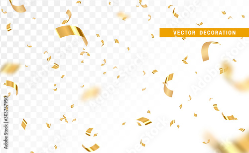 Obraz Falling shiny golden confetti isolated on transparent background. Bright festive tinsel of gold color. - fototapety do salonu