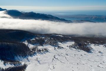 The fog in the Velebit mountain in winter, Croatia