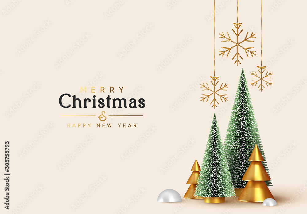 Fototapeta Christmas and New Year background. Xmas pine fir lush tree. Conical Abstract Gold Christmas Trees. Snowflakes hanging on ribbon. Bright Winter holiday composition. Greeting card, banner, poster