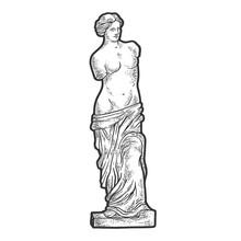 Venus De Milo Ancient Greek Statue Sketch Engraving Vector Illustration. T-shirt Apparel Print Design. Scratch Board Imitation. Black And White Hand Drawn Image.