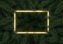 Christmas Tree Branches. Festive Xmas Border Of Green Branch Of Pine. Pattern Pine Branches, Spruce Branch. Glowing Neon Frame, Space For Text. Realistic Design Decoration Element. Vector Illustration