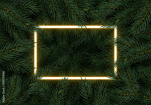 Christmas tree branches. Festive Xmas border of green branch of pine. Pattern pine branches, spruce branch. Glowing neon frame, space for text. Realistic design decoration element. Vector illustration - 303759186