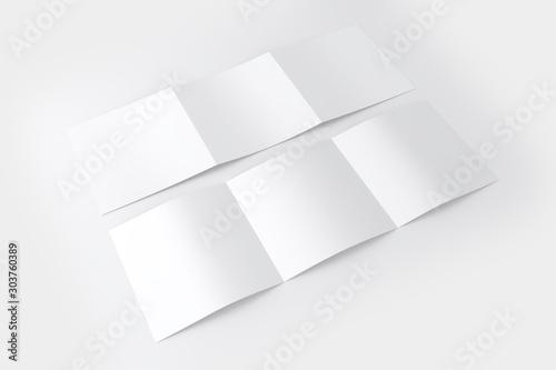 Obraz Square 3 Fold Brochure White Blank Mockup - fototapety do salonu