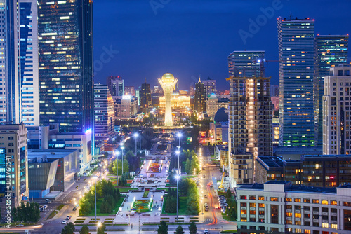 Photo Evening view of the city of Nur Sultan
