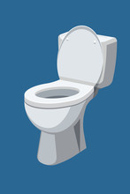 Toilet Bowl With Open Lid Isolated On Blue Background. Vector Illustration