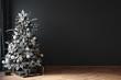 Christmas tree in black room interior, 3d render