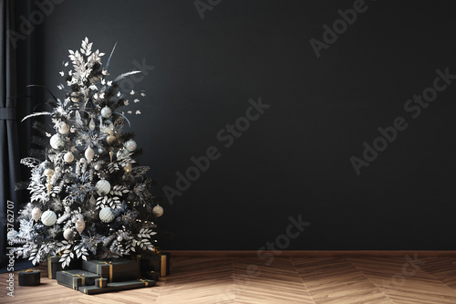 Christmas tree in black room interior, 3d render