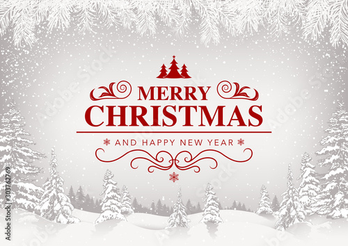 Merry Christmas Greeting Card with White Snowing Landscape and Red Lettering - F Obraz na płótnie
