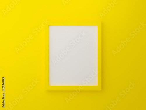 Fotomural  Yellow blank photo frame template on wall texture in gallery